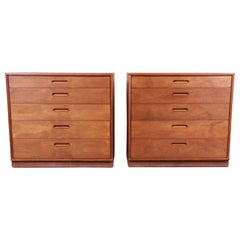 Edward Wormley for Dunbar Mahogany Bachelor Chests or Large Nightstands, Pair