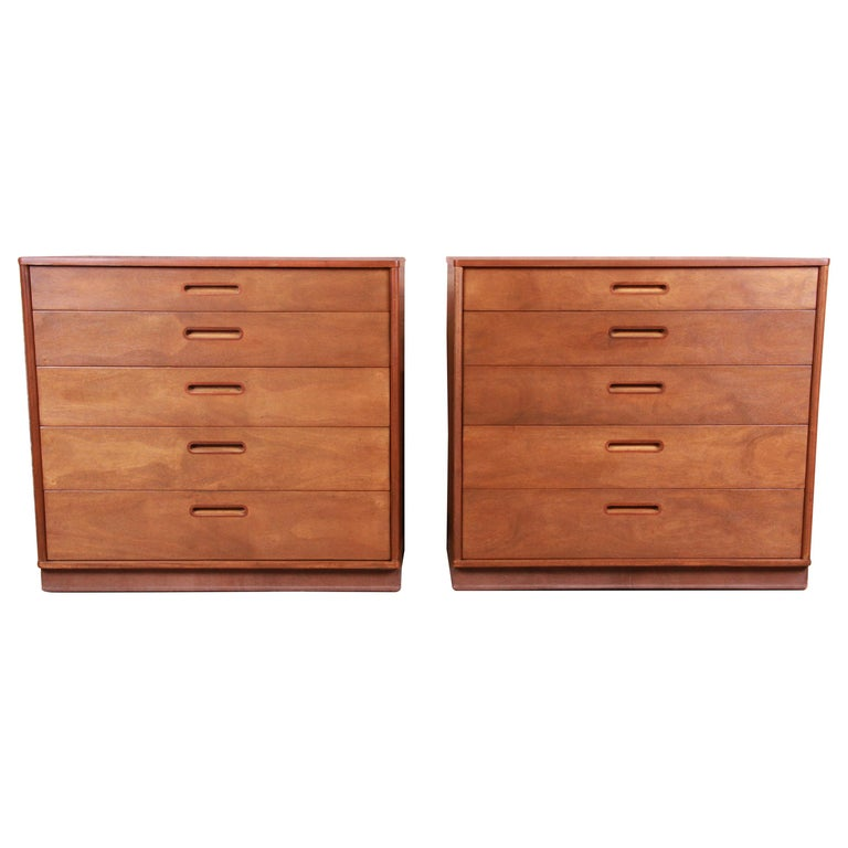 Edward Wormley for Dunbar Mahogany Bachelor Chests or Large Nightstands, Pair For Sale