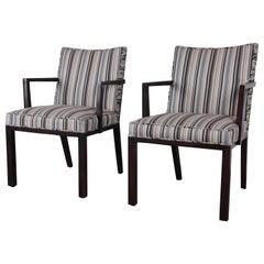 Edward Wormley for Dunbar Mahogany Club Chairs, Pair