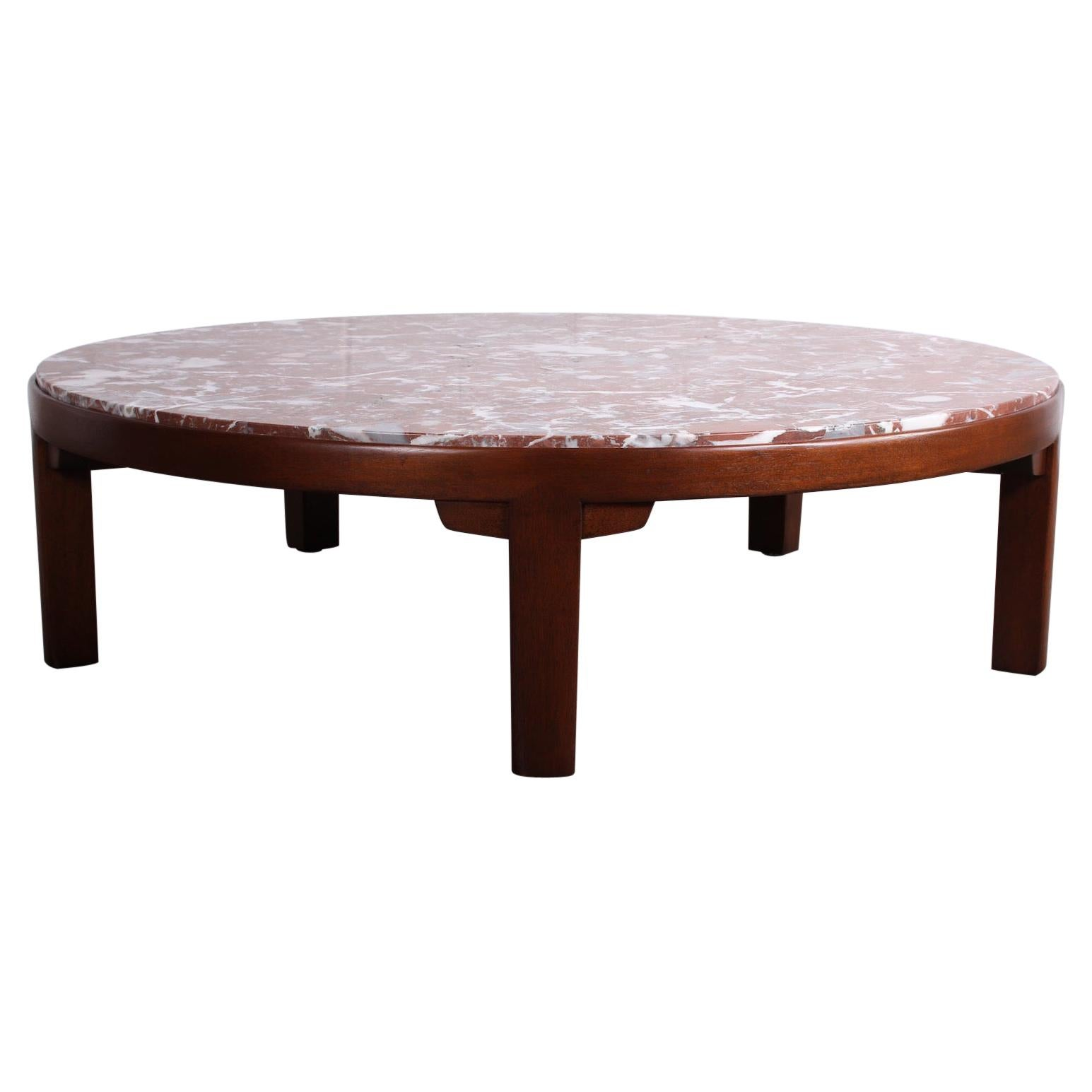 Edward Wormley for Dunbar Mahogany Coffee Table with Marble Top
