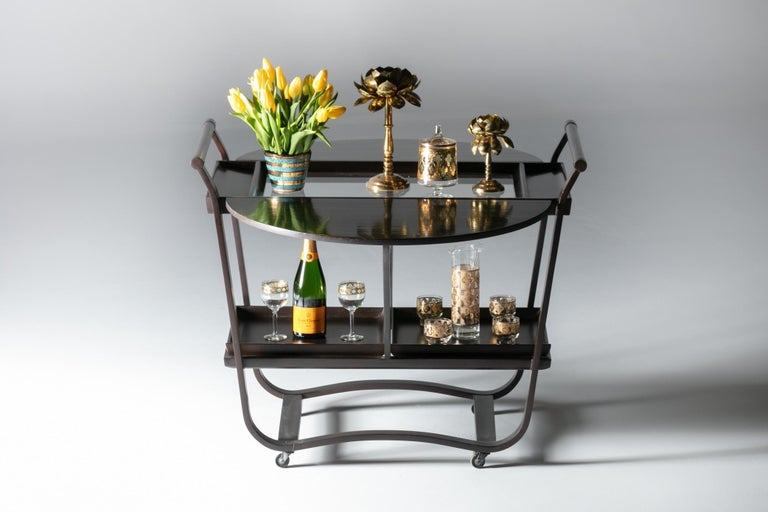 Brass Edward Wormley for Dunbar Mahogany Drop Leaf Bar Cart Model 4487, circa 1950 For Sale