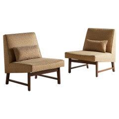Edward Wormley for Dunbar Mahogany Slipper Chair, Pair