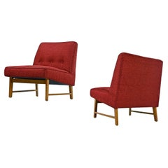 Edward Wormley for Dunbar Mahogany Slipper Chairs Lounge Chair Set, Restored