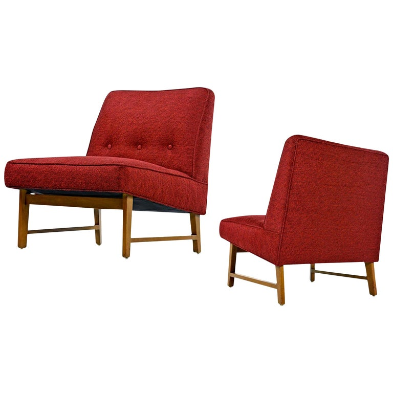 We purchased these Edward Wormley slipper chairs from the original estate and can say without hesitation that you won't find a more pristine pair anywhere. The Florida waterfront home was a veritable living catalog for high end designer furniture.