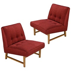 Edward Wormley for Dunbar Mahogany Slipper Chairs Lounge Chair Set, Restored