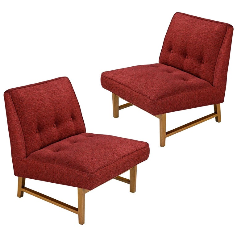 Edward Wormley for Dunbar Mahogany Slipper Chairs Lounge Chair Set, Restored For Sale