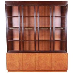 Edward Wormley for Dunbar Mahogany Superstructure Breakfront Cabinet or Bookcase