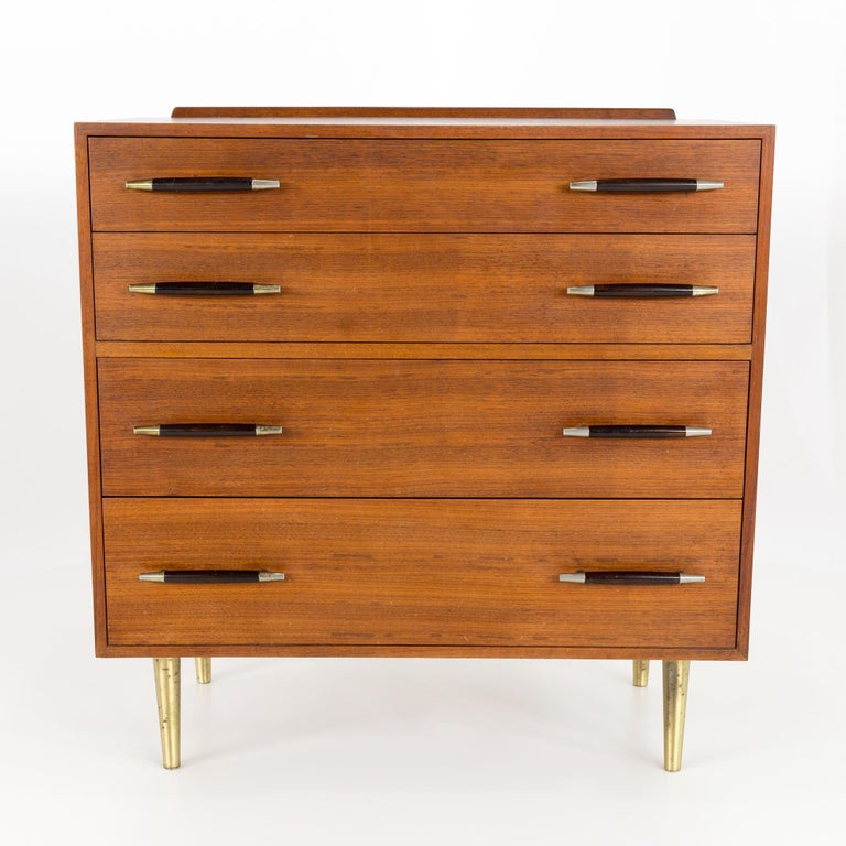 Edward Wormley for Dunbar midcentury brass and walnut 4-drawer lowboy dresser chest of drawers
