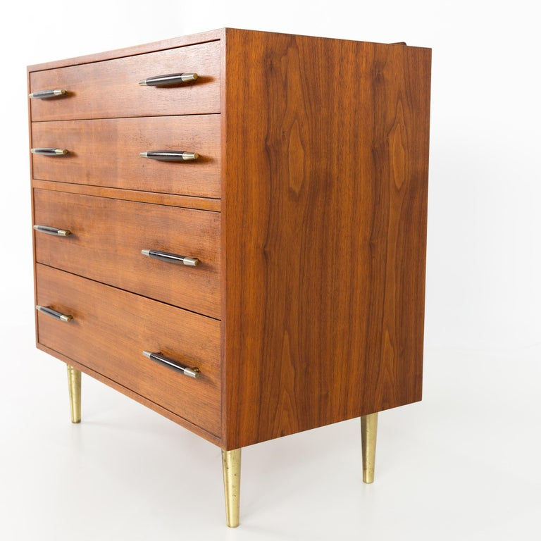 Edward Wormley for Dunbar Midcentury Brass and Walnut 4-Drawer Lowboy Dresser In Excellent Condition For Sale In La Grange, IL