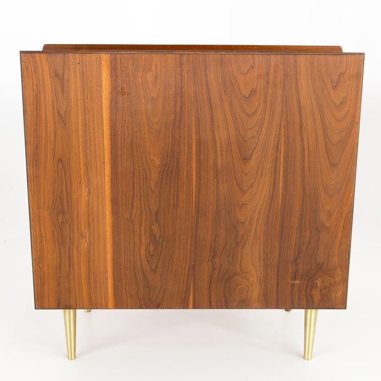 Late 20th Century Edward Wormley for Dunbar Midcentury Brass and Walnut 4-Drawer Lowboy Dresser For Sale