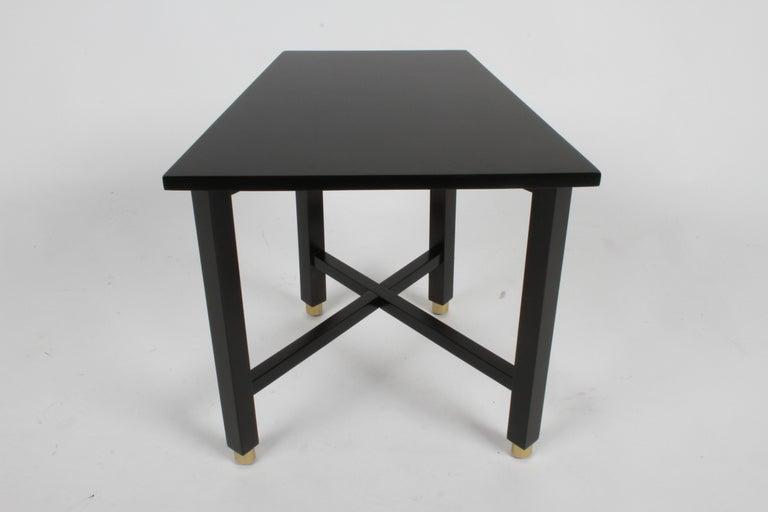 Edward Wormley for Dunbar Mid-Century Ebonized Trapezoidal Side or Drinks Table For Sale 3