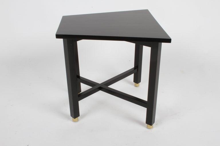 Edward Wormley for Dunbar Mid-Century Ebonized Trapezoidal Side or Drinks Table For Sale 5