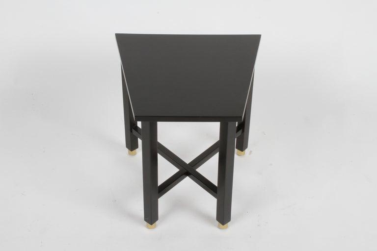 Edward Wormley for Dunbar Mid-Century Ebonized Trapezoidal Side or Drinks Table For Sale 6