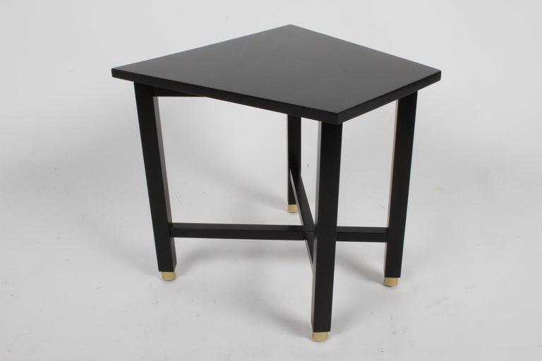 Mid-Century Modern Edward Wormley for Dunbar Mid-Century Ebonized Trapezoidal Side or Drinks Table For Sale
