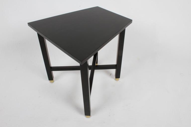 Edward Wormley for Dunbar Mid-Century Ebonized Trapezoidal Side or Drinks Table For Sale 2