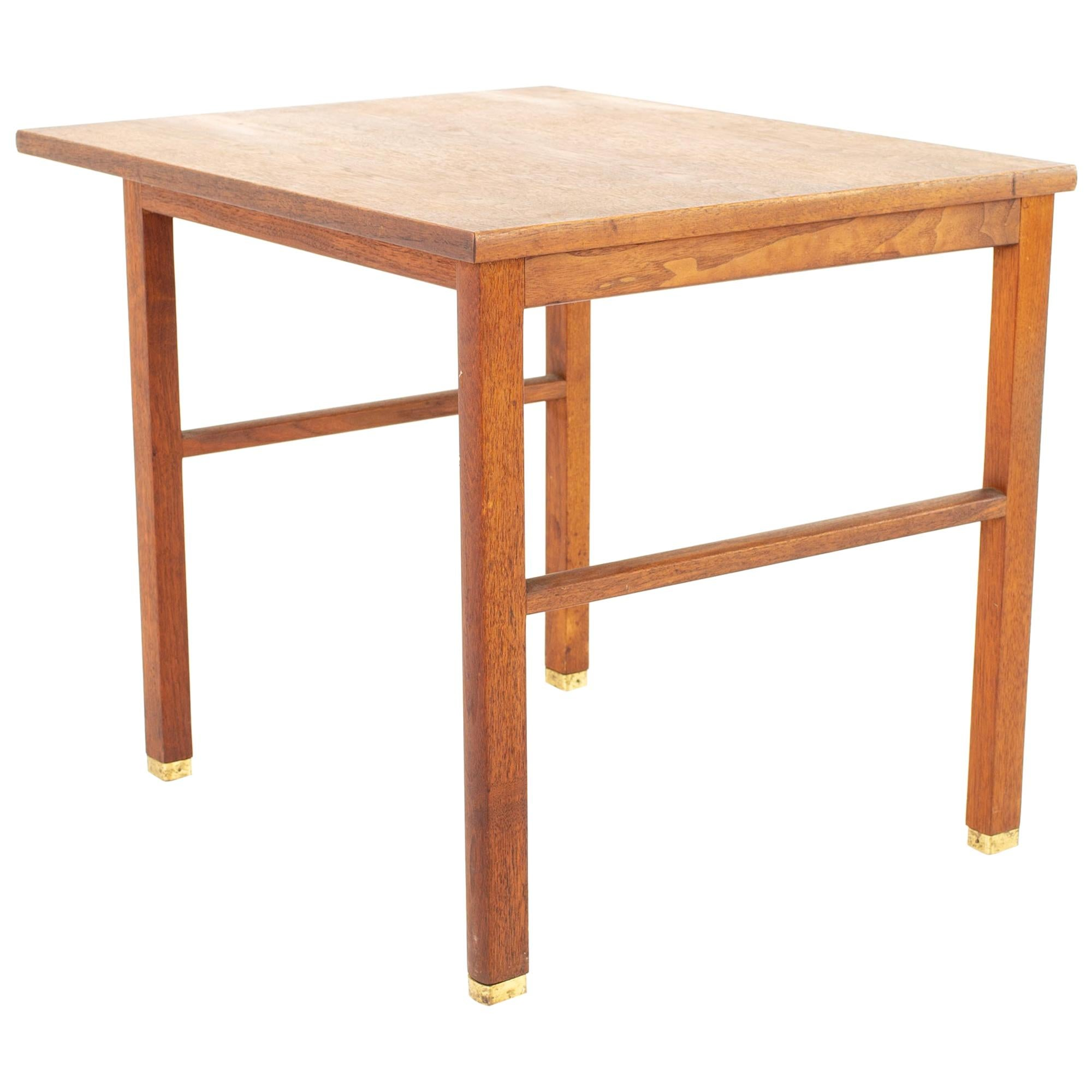 Edward Wormley for Dunbar Mid Century Mahogany and Brass Side End Table