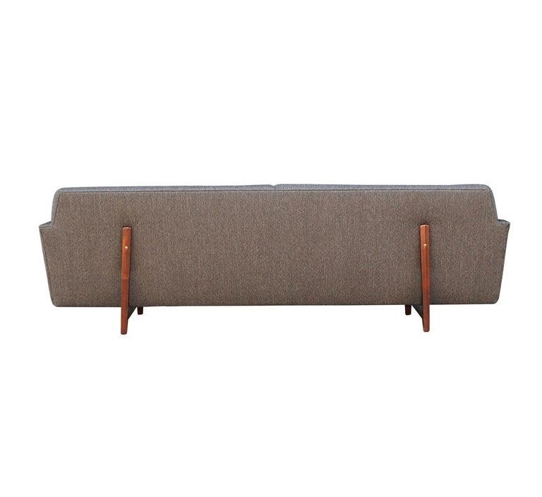 American Edward Wormley for Dunbar Mid-Century Modern Gray Tweed Sofa with Walnut Legs For Sale