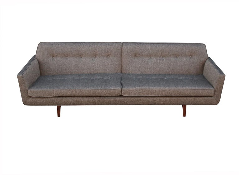 Mid-20th Century Edward Wormley for Dunbar Mid-Century Modern Gray Tweed Sofa with Walnut Legs For Sale
