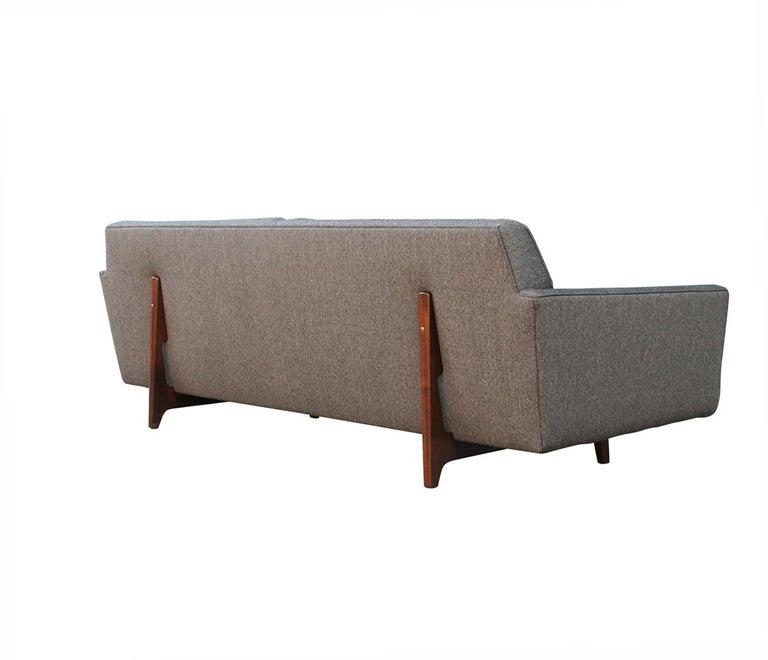 Fabric Edward Wormley for Dunbar Mid-Century Modern Gray Tweed Sofa with Walnut Legs For Sale