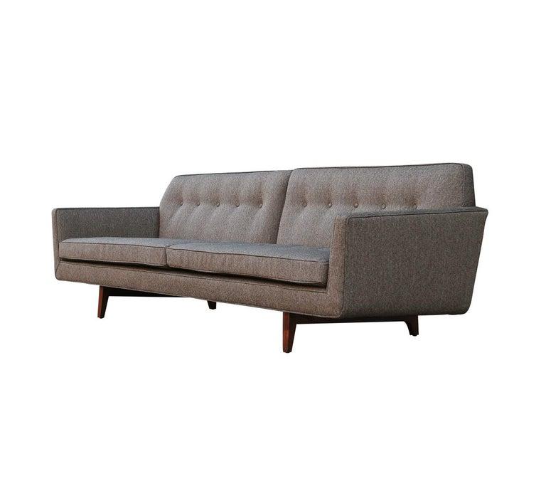 Edward Wormley for Dunbar Mid-Century Modern Gray Tweed Sofa with Walnut Legs For Sale 1