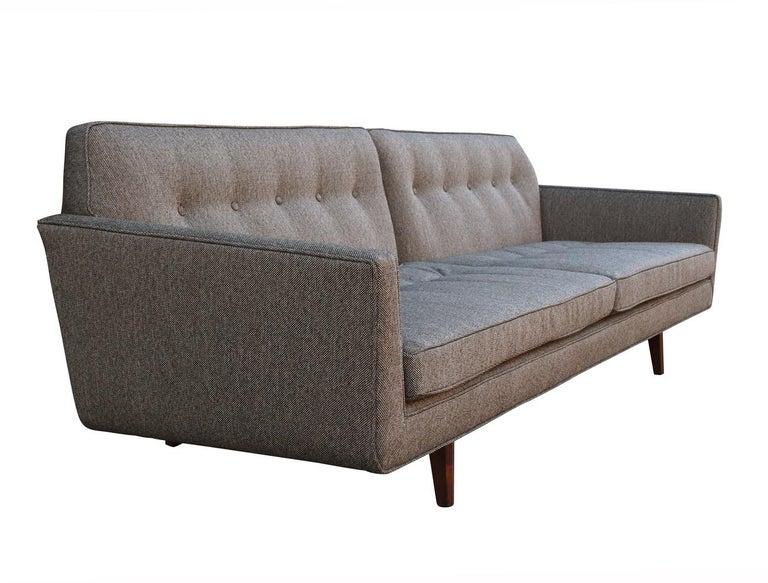 Edward Wormley for Dunbar Mid-Century Modern Gray Tweed Sofa with Walnut Legs For Sale 3
