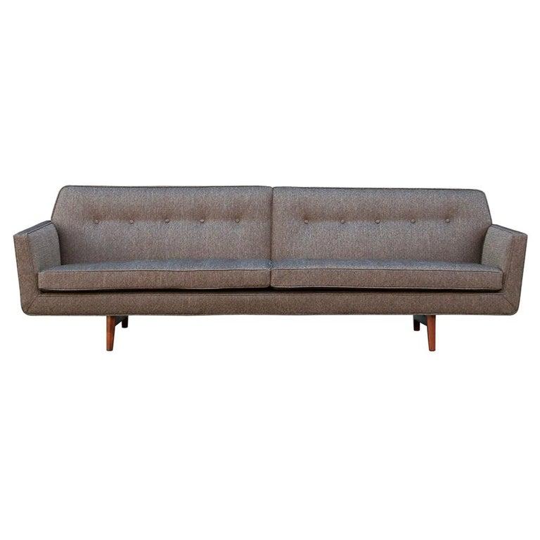 Edward Wormley for Dunbar Mid-Century Modern Gray Tweed Sofa with Walnut Legs For Sale