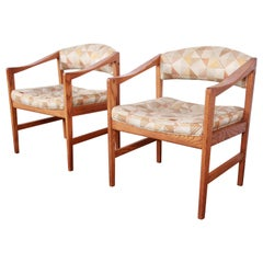 Edward Wormley for Dunbar Mid-Century Modern Sculpted Oak Armchairs, Pair