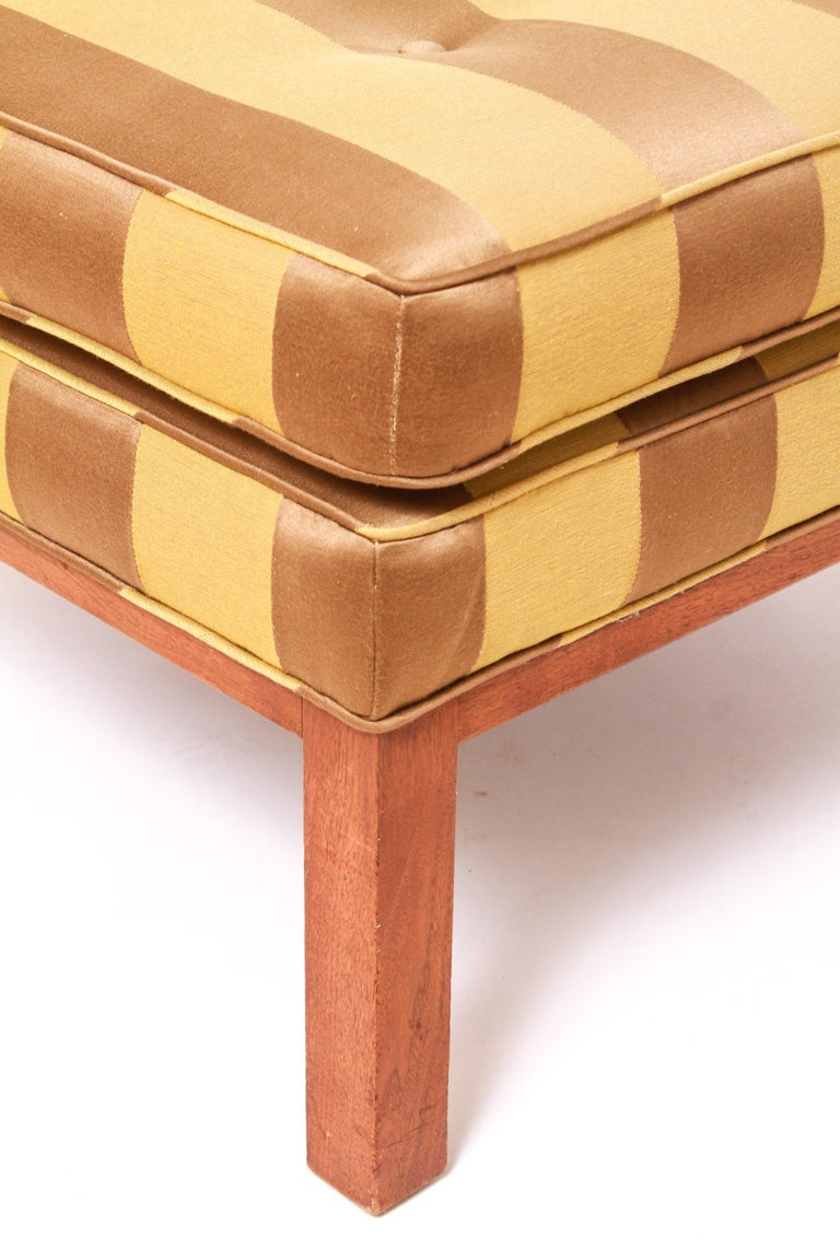 Edward Wormley for Dunbar style Mid-Century Modern ottoman in square form, with striped upholstery and tufted cushion. From the collection of Actor Ron Rifkin. In great vintage condition with age-appropriate wear.