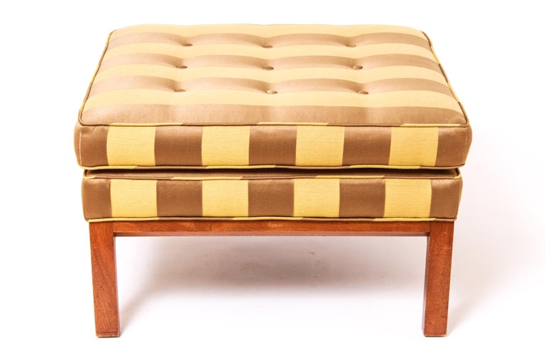 20th Century Mid-Century Modern Striped Ottoman in the Style of Edward Wormley for Dunbar For Sale