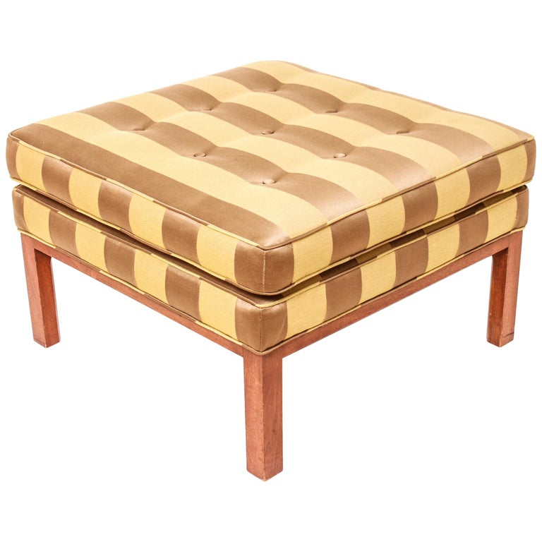 Mid-Century Modern Striped Ottoman in the Style of Edward Wormley for Dunbar For Sale