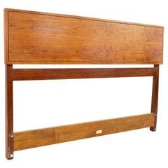 Edward Wormley for Dunbar Mid Century Walnut Rosewood and Brass Headboard