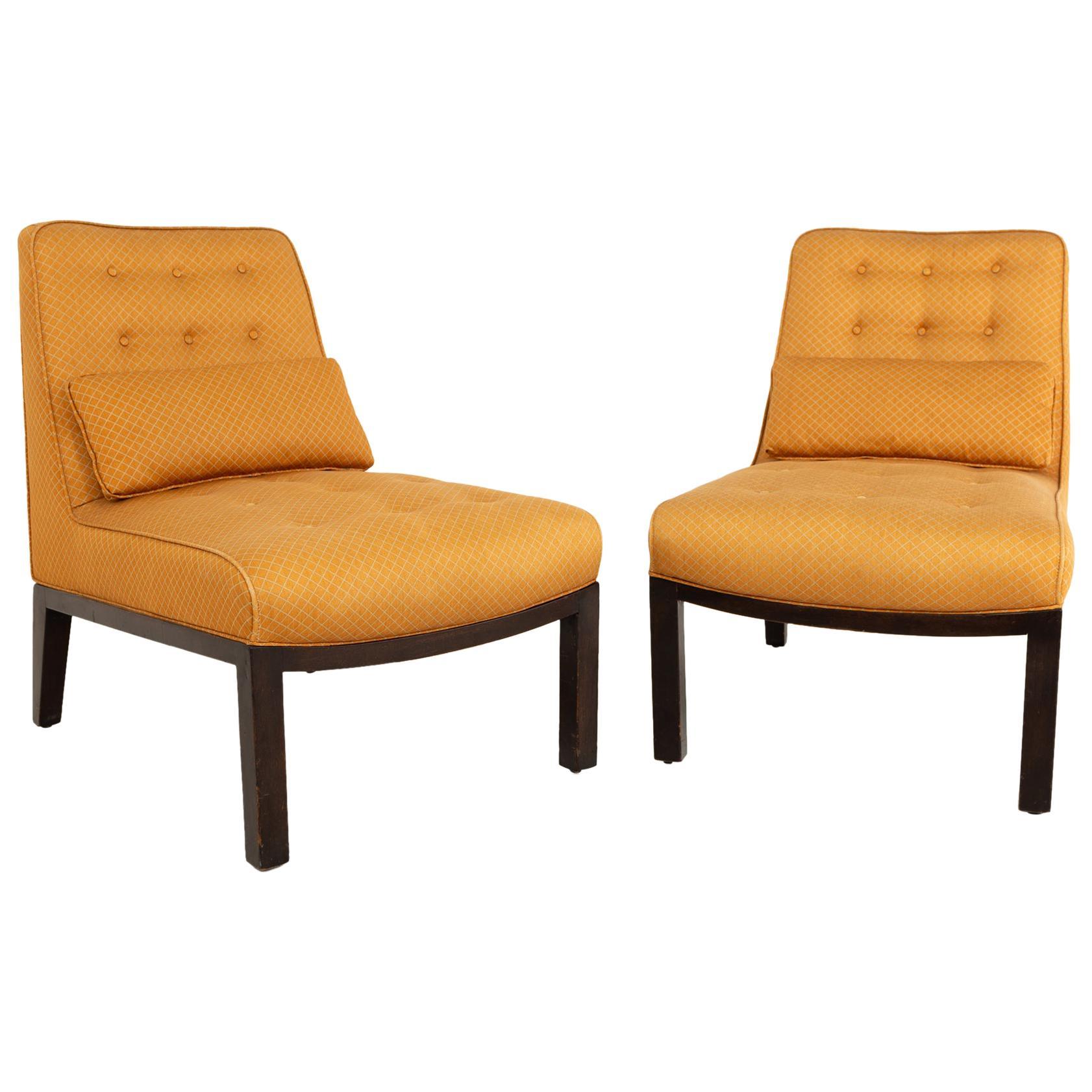 Edward Wormley for Dunbar Mid Century Slipper Lounge Chairs, Pair