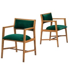 Edward Wormley for Dunbar Pair of Green Armchairs