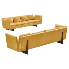 Edward Wormley for Dunbar Pair of Large Split-Arm Sofas in Yellow Upholstery
