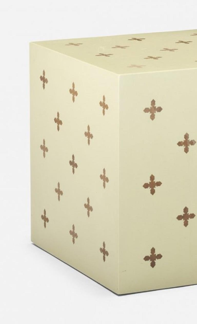 Edward Wormley for Dunbar lacquered cube or side table with walnut parquetry inlay.