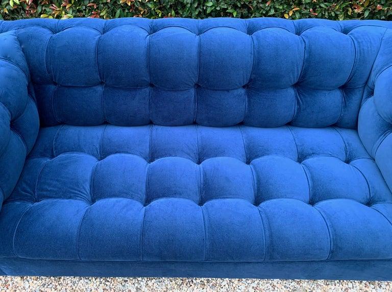 Velvet Edward Wormley for Dunbar Party Sofa For Sale