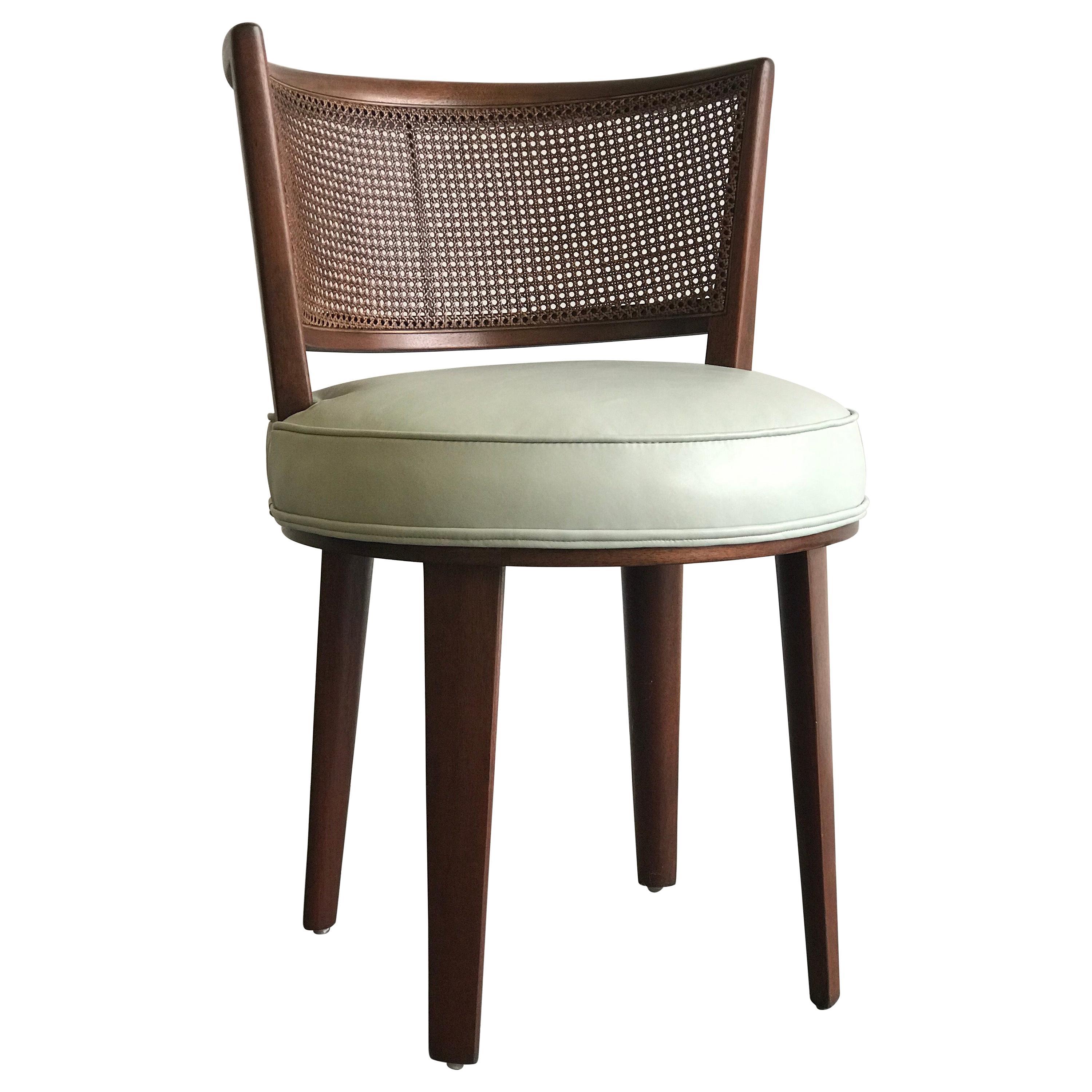 Swivel Chair, Edward Wormley for Dunbar, Mahogany Cane Leather, 1950s