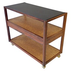 Edward Wormley for Dunbar Rosewood Frame with Slate Top Cork Shelves Drinks Cart
