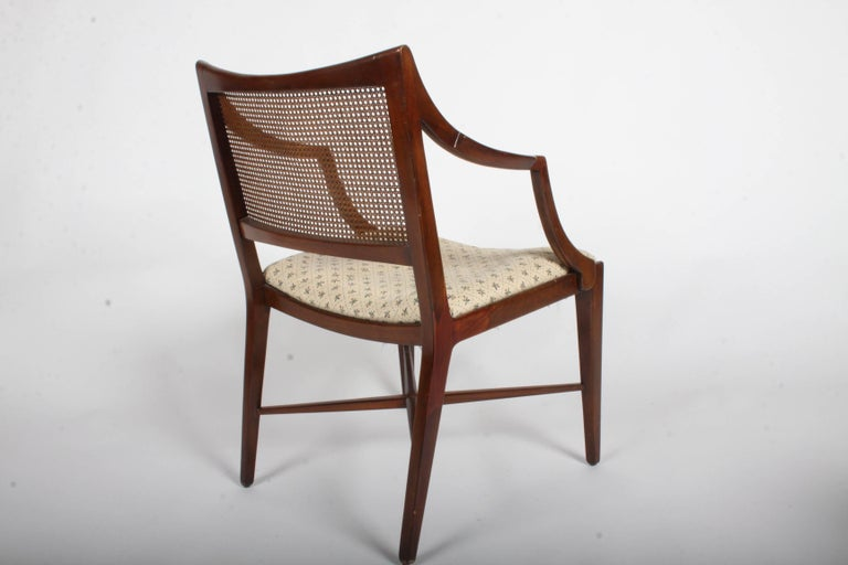Edward Wormley for Dunbar Set of Four Caned Dining Chairs For Sale 4