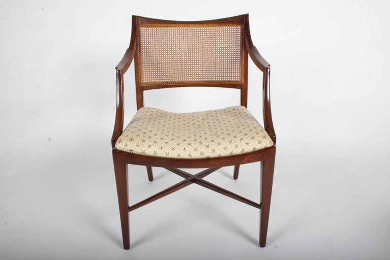 Edward Wormley for Dunbar Set of Four Caned Dining Chairs For Sale 6