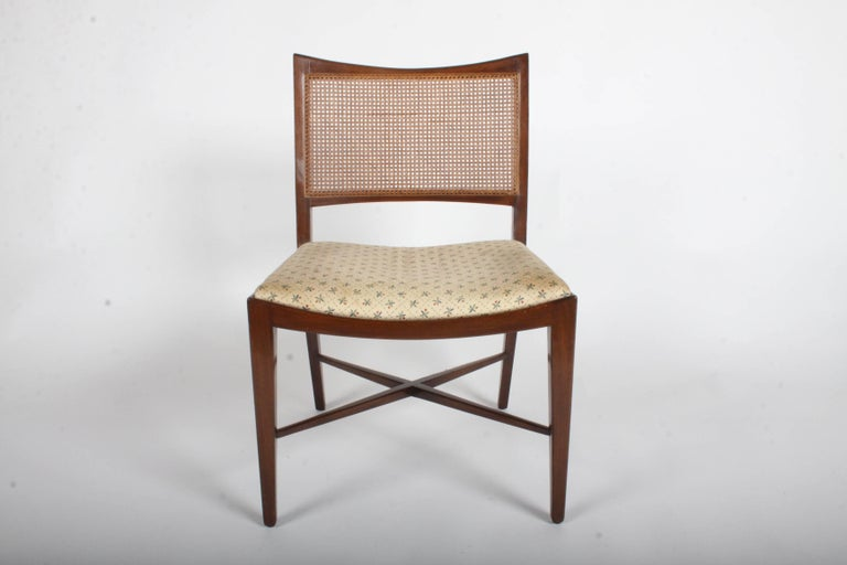 Edward Wormley for Dunbar Set of Four Caned Dining Chairs For Sale 7