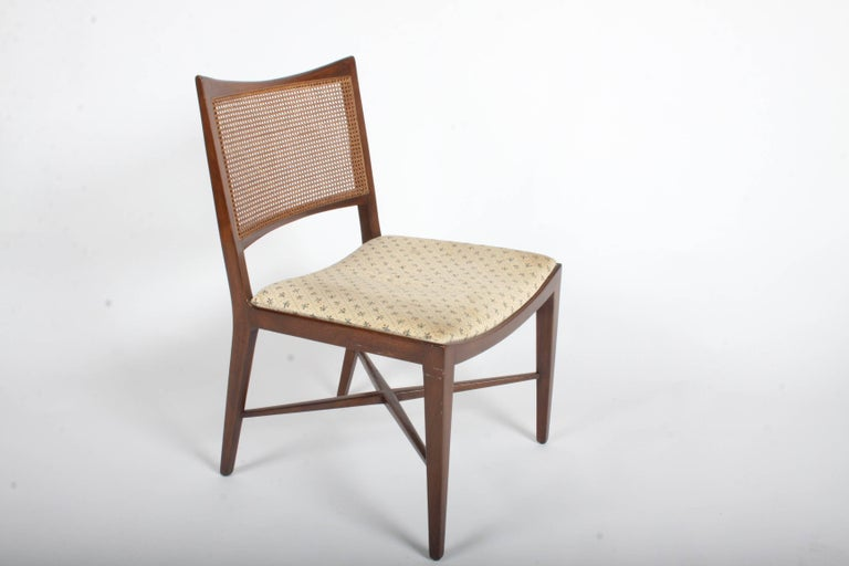 Edward Wormley for Dunbar Set of Four Caned Dining Chairs For Sale 9