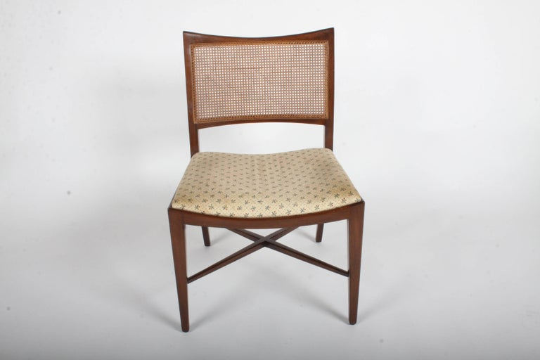 Edward Wormley for Dunbar Set of Four Caned Dining Chairs For Sale 14