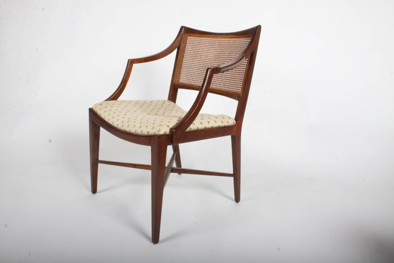 Mid-Century Modern Edward Wormley for Dunbar Set of Four Caned Dining Chairs For Sale