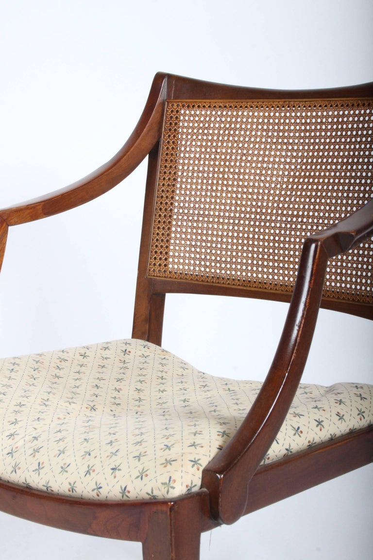 American Edward Wormley for Dunbar Set of Four Caned Dining Chairs For Sale