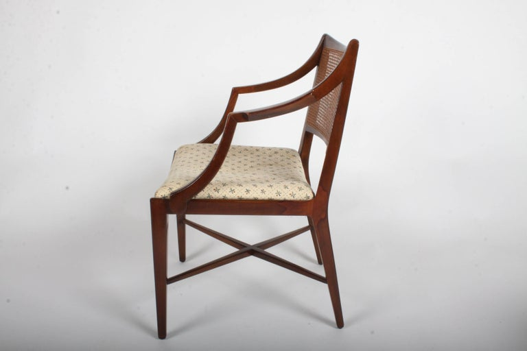Edward Wormley for Dunbar Set of Four Caned Dining Chairs In Excellent Condition For Sale In St. Louis, MO