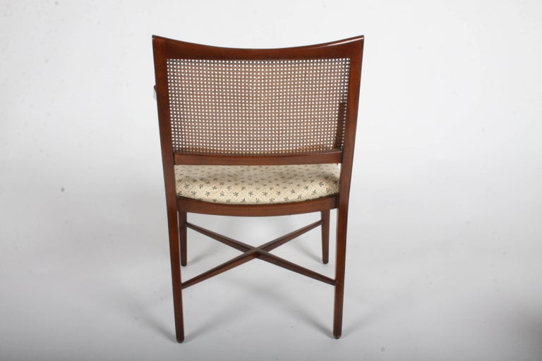 Edward Wormley for Dunbar Set of Four Caned Dining Chairs For Sale 1
