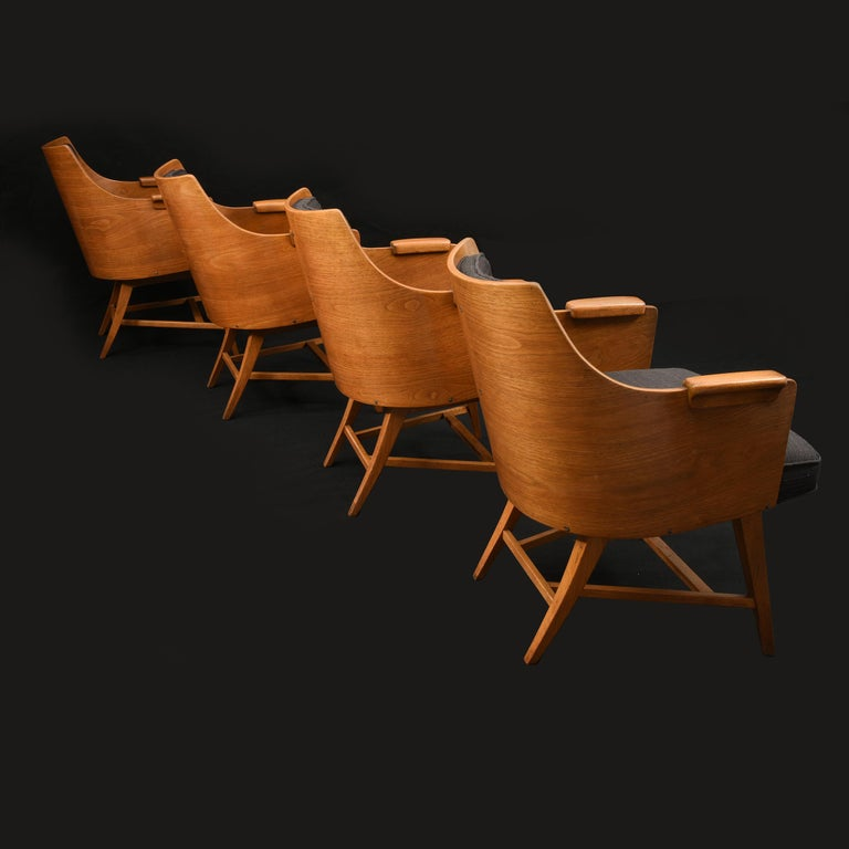 Rare set of four, Edward Wormley for Dunbar armchairs  The four original to set,  USA, 1950s  Measures: 23 x 23 x 29 in   17