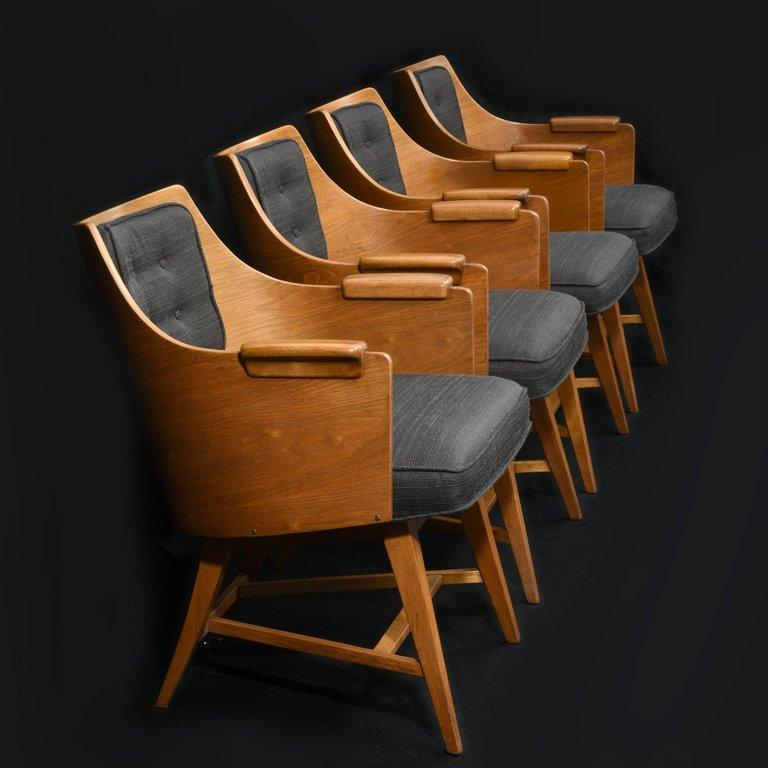 Mid-Century Modern Edward Wormley for Dunbar, Set of Four Rare Sculpted Back Dining Chairs, 1960s For Sale