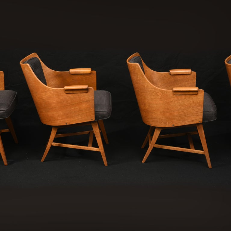 American Edward Wormley for Dunbar, Set of Four Rare Sculpted Back Dining Chairs, 1960s For Sale